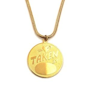 Jewelry - Vintage Taken By Engravable Gold Pendant Necklace